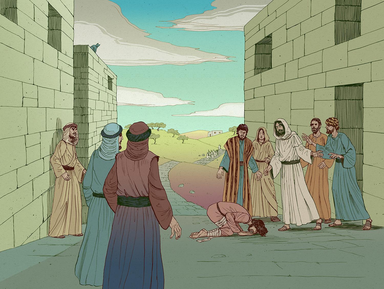 Jesus and the leper illustration color