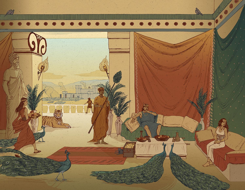 King david palace illustration color