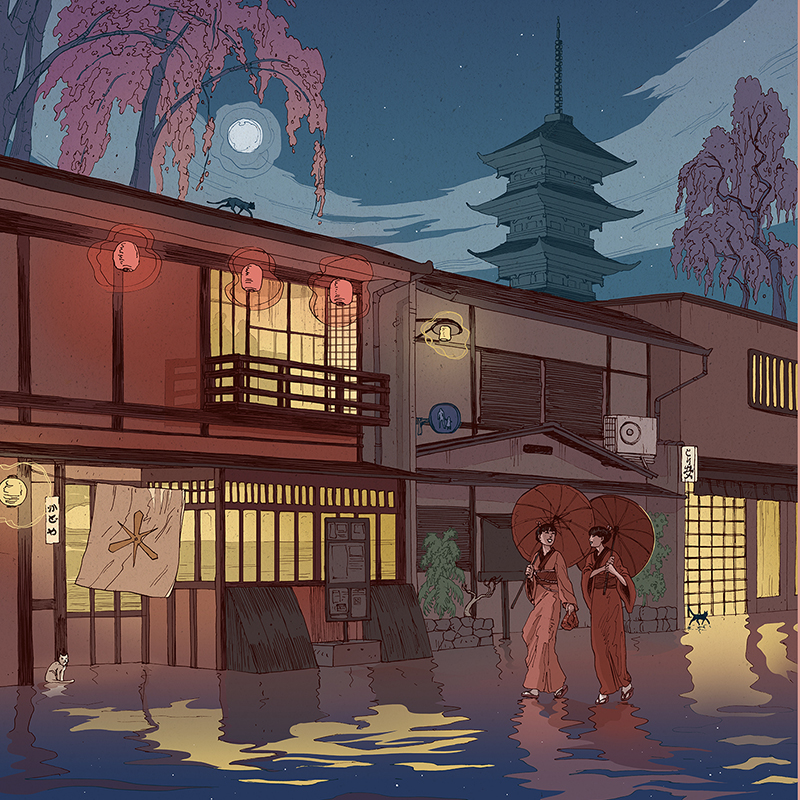 Kyoto-at-night-illustration-nicolas-castell A