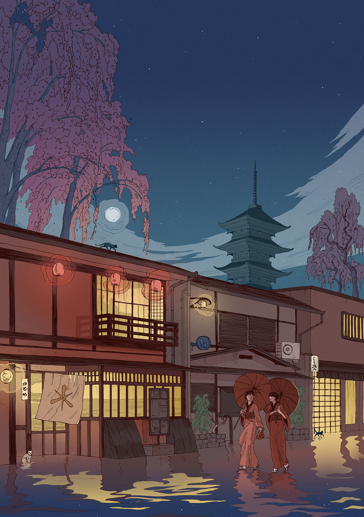 Kyoto at night illustration nicolas castell