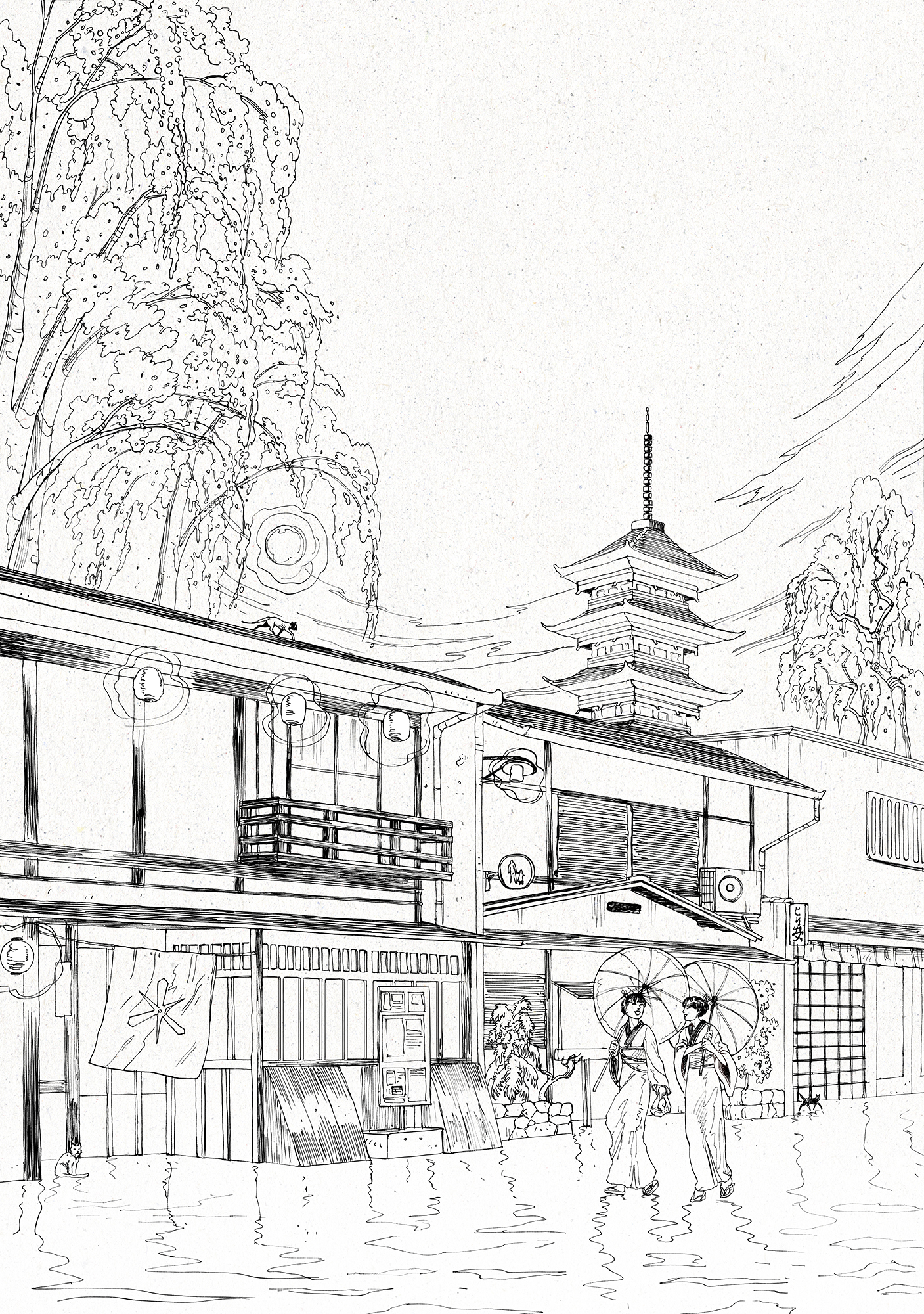 kyoto at night ink nicolas castell web